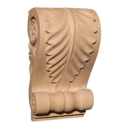 "Inviting Home - Irvine Large Pilaster Corbel - Cherry (CB20LCH/c20-14) - wood corbel in cherry 14""H x 5-7/8""D x 7-5/8""W Corbels and wood brackets are hand carved by skilled craftsman in deep relief. They are made from premium selected North American hardwoods such as alder beech cherry hard maple red oak and white oak. Corbels and wood brackets are also available in multiple sizes to fit your needs. All are triple sanded and ready to accept stain or paint and come with metal inserts installed on the back for easy installation. Corbels and wood brackets are perfect for additional support to countertops shelves and fireplace mantels as well as trim work and furniture applications."