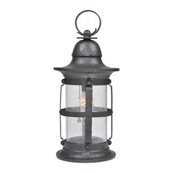 """Meyda Lighting - Meyda Lighting 7.5""""W Restored Camp Uncas 1 Lt Hanging Lantern Pendant - Gather Around The Camp With This Traditionally Styled Lantern. The Frame Is Hand Finished in Wrought Iron With Seedy Glass. The Lantern Is Ul Listed For Wet Locations And Handmade By Meyda Artisans In Yorkville, New York."""