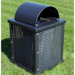 Premier Polysteel Arch Lid 32 Gallon Trash Receptacle - The Premier Polysteel Arch Lid 32 Gallon Trash Receptacle features a resilient all-steel construction and an appealing design that is at home in any environment. It boasts attractive mesh-pattern panels rounded edges and a classic arched lid. This trash receptacle is available in a variety of popular colors to complement your surroundings.This trash receptacle is completely plastisol-coated to protect against the elements. A thick 1/8-inch coating of UV-treated and mildew-resistant plastisol is added to create a finished product that is unequaled in strength and durability. To ensure a strong bond all steel is cleaned and primed before coating with plastisol. Only high-quality stainless steel hardware is used.About A.D.A. Enterprises/Premier PolysteelWhat began as a steel manufacturer is now an enterprise that creates 100% plastic-coated steel outdoor furniture. A.D.A. Enterprises which owns Premier Polysteel offers a wide line of benches picnic tables trash receptacles bike racks umbrellas and grills. Located in Northwood Iowa A.D.A. takes pride in the high quality of their products. These products are sturdily built and completely coated in UV-stabilized plastisol. Durable excellently crafted outdoor furniture is what A.D.A. is all about.