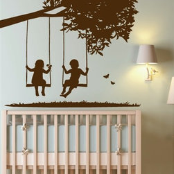 WALLTAT - Kids on Swings Wall Decal, As-Is - Kids on Swings Wall Decals was designed to add depth and dimension to your child's bedroom or nursery. The design is intended installation at the corner of the room to give the illusion of a continuous landscape. The silhouettes of a boy and girl swing together under a an extended tree branch as the little girl holds onto a flower.  Available on Houzz in Size B Chocolate in As-Is Orientation (Tree trunk on Left) or Reverse Orientation (Tree trunk on right)...  Convert your child's walls into interesting landscapes in just minutes with WALLTAT Wall Decals.  Made in the USA.