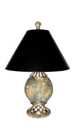 Cheltenham Globe Lamp | MacKenzie-Childs - Feel free to traverse the world in search, but we think our Cheltenham Globe Lamp is as fetching as you will find anywhere. Handsome from any distance, the elaborate splendor of the Cheltenham patterns hand-painted onto this curved majolica silhouette emerge upon closer inspection. The Courtly Check® and Stripe palette incorporates a dash of rich jewel tones into each brushstroke. Likewise, faux marble is a multicolored, many-layered creation. After texturing hues of blues, greens, violets, and yellows with natural sea sponges, artisans use tools as unconventional as bird feathers to sculpt the veins that give marble its unmistakable cast. Whether your travels take you to the ends of the earth and back, or just around the corner, the textured elegance of a Cheltenham Globe Lamp in your entrance hall will welcome you home with a glow of worldly warmth.