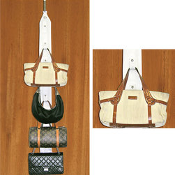 Trademark Global - Purse Holder Includes Door And Closet Rod Hangers! - Conveniently holds up to 8 purses, No more looking around the house for the misplaced purse, Hangs over the door or in the closet