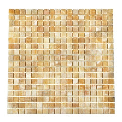 """Premier Worldwide - Honey Onyx 5/8"""" X Mosaic Polished - Yellow Onyx 5/8x5/8 Polished Onyx tile is backed with mesh and available in 12x12 sheets. This dynamic yellow, brown and cream tiles are exquisite and unique and ideal for walls applications including kitchen backsplashes and bathroom surrounds  Also known as Honey Onyx, Giallo Crystal Onyx"""