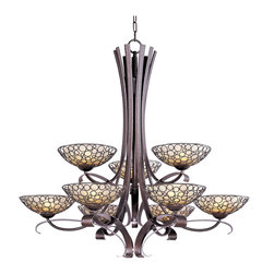 Maxim Lighting - Art Deco Retro 9 Light Up Lighting ChandelierMeridian Collection - Multiple-sized rings artfully welded to one another form modern sculptures in the Meridian collection.