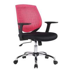 VIG Furniture - Modrest Prime Modern Black and Red Office Chair - The design of this modern office chair is based on the creator's passion and user's taste. This two tone office chair is a great accompaniment to any desk. It has a high back rest that will support the back and keep you comfortable for hours at end. With this office chair, you can rest assured that your work will be your top priority.