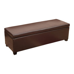 Great Deal Furniture - Sherman Brown Leather Storage Ottoman - Our Sherman Brown Leather Storage Ottoman is known for its simple design and functional use. Store blankets, pillows and other loose household items with its easy to access storage area. The soft bonded leather and padding top make practical for use in any room.