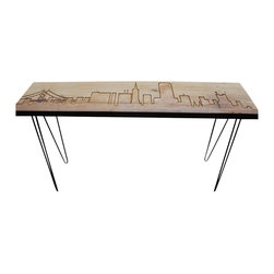 Urban Wood Goods - San Francisco Reclaimed Wood Console Table - What's shakin'? The city famous for earthquakes is now your strongest support system. This console captures the skyline of San Francisco on a single reclaimed plank of Douglas fir, and in the process, contains everything you hold dear on terra firma.