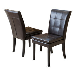 Great Deal Furniture - Lindsay Leather Dining Chairs (Set of 2), Brown - The Lindsay brown leather dining chairs are perfect for sprucing up your dining room decor. These contemporary chairs are stylish and their neutral color will compliment any dining table, from the traditional to the modern style. Need decorating ideas for your dining room? These chairs feature decorative stitching along the padded seat and backrest for added flair. Place these chairs in your dining space or kitchen, or use them as extra seating in your living room, or office.