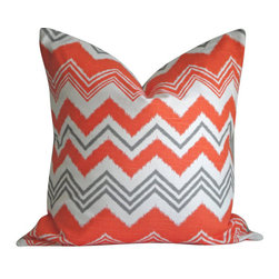 Decorative Throw Pillow Cover In Zazzle Chili on Both Sides, 14x14 - What a fun way to add color to your space, Love the vibrant color and pattern of this fabric. The pillows are covered in Zazzle Chili on Both Sides with envelope closure. This is one of the inexpensive way to add color to your furniture.