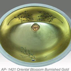 "Hand Painted Undermounts by Atlantis Porcelain - ""ORIENTAL BLOSSOM"" Shown on AP-1421 white Ovalyn undermount 17-1/2""x14-1/2"". This design is available in bright gold and bright platinum on any of our sinks. You can customize the design using colors to match your specific décor."