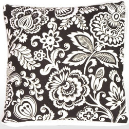 Pillow Decor - Pillow Decor - Flower Power with Box Edge Accent Pillow - Striking black and white stylized flowers with a white box edge  a fashionable European design. The box edge also helps pillow sit upright on leather or vinyl furniture. Perfectly proportioned for a loveseat, sofa or sectional. Stunning on black furniture.