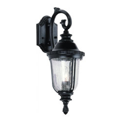 Joshua Marshal - One Light Rust Clear Crackled Finish Glass Wall Lantern - One Light Rust Clear Crackled Finish Glass Wall Lantern