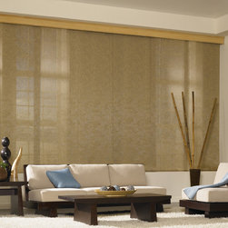 Bali® Sliding Panels: Lanai, Mist, Tropics, Vineyard & Weave - The Bali Sliding Panel collection is a modern, yet natural looking alternative to standard window treatments.  Sliding panels from Bali are perfect for patio doors and wide windows, and also serve as a great way to divide a room by adding privacy.  These Bali Sliding Panels lessen glare, block damaging UV rays and reduce heat transmittance while still allowing for a clear view of the outside.