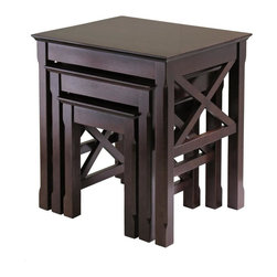 Winsome Wood - Xola 3 Pc Nesting Table in Cappuccino Finish - Includes small, medium and large nesting tables. X-cross on end panels add a special touch to this great set. Constructed of solid and composite wood. Assembly required. Small: 12.2 in. L x 14.4 in. W x 15 in. H. Medium: 16.5 in. L x 16 in. W x 18.50 in. H. Large: 21.1 in. L x 17.32 in. W x 22.13 in. HWonderful addition to your room to display or use it as Accent or End Table.