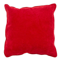 Jaipur - Allure Red 20-Inch Decorative Pillow - - The Allure collection is sumptuous and vibrant. With its super soft velvety texture and piped edges it is refined fun in simple bold colors       - Care Instructions: Remove the throw pillow's cover if it is removable. Wash the cover separately from the pillow. Pre-treat badly soiled or stained areas on the pillow cover with a color-safe prewash spray. Rub the spray into the stain with a damp sponge. Wash the pillow cover or the whole pillow on a gentle-wash cycle in warm water with a very mild detergent. Detergent for delicate fabrics or baby clothes is usually suitable. Remove the pillow or pillow cover as soon as the washing machine has ended the cycle and has shut off. Hang the pillow or cover up to dry in a well-ventilated area. If the care label specifies that the item is dryer-safe place the pillow or pillow cover in the dryer and tumble dry on low heat. Fluff the pillow once it is dry in order to maintain its form. Don't use the pillow until it is completely dry. Damp pillows will attract dirt more easily  - Made in USA Jaipur - PLC100899