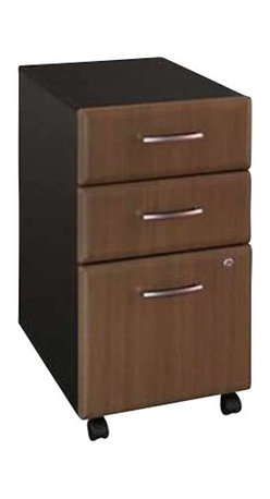 Bush - Bush Series A Three-Drawer File in Sienna Walnut/Bronze-Assembly Required - Bush - Filing Cabinets - WC25553 -  This three drawer file pedestal will give any office the storage space it needs. It is mobile on dual wheel casters so it can easily roll under desks when not in use. The file pedestal also features two box drawers for small office supplies and a lockable letter/legal sized file drawer. It is finished in Sienna Walnut with Bronze vertical supports and comes ready to assemble.Features: