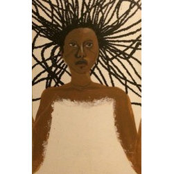 The African Cloud Princess (Original) by Bettina Corbitt - This piece of beautiful artwork was meant to be a self portrait of me, but it took on a life of its own. She is painted in acrylic paints, Browns and white and black bring out simplicity as well as her beauty.