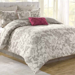 None - Soho New York Home Peony 8-piece Comforter Set - The Soho New York 100-percent cotton floral comforter set will bring style and elegance to any bedroom. The set includes a comforter,bedskirt,two standard shams,two Euro shams and two decorative pillows.