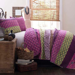 Lush Decor - Royal Empire Plum Three-Piece Full and Queen Quilt Set - - This colorful 3 pc 100% cotton quilt set is loaded with color and works both in a contemporary or traditional room. It has printed pieced fabrics on one side and a full print on the other. A perfect weight for all year round use  - Set Includes: 1 Quilt and 2 shams  - Sham: 20-Inch H x 26-Inch W  - Care Instructions: Machine wash cold Lush Decor - C12741P13-000