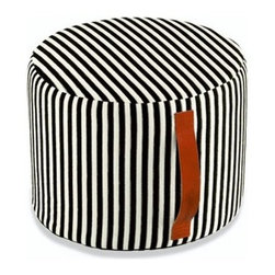 """Missoni Home - Wallara Cylindrical Pouf 12"""" x  16"""" - Features: -The Black and White 4 Collection. -Available in Wallara fabric. -Removable cover. -Patent leather handle. -Base: fabric Eucla. -Material: 47% Cotton - 35% Viscose - 18% Polyester. -Overall Dimensions: 12"""" H x 16"""" W."""