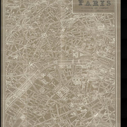 Amanti Art - Susan Schlabach 'Blueprint Map Paris Taupe' Framed Art Print 32 x 42-inch - Vintage maps are a classic accent that never goes out of style. Whether you are a map lover or wish to document and showcase where you have been (or would like to go), maps make a great addition to any space.