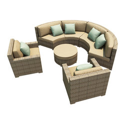 Forever Patio - Hampton 5 Piece Wicker Outdoor Sectional Set, Heather Wicker and Tan Cushions - The Forever Patio Hampton Radius 5 Piece Wicker Outdoor Sectional Set with Tan Sunbrella cushions (SKU FP-HAMR-5SEC-HT-BE) creates a stylish outdoor lounge that is sure to enhance the function and look of any patio area. The set seats 6 to 7 adults comfortably, and features Heather resin wicker, which is made from High-Density Polyethylene (HDPE) for outdoor use. Each strand of this outdoor wicker is infused with its natural color and UV-inhibitors that prevent cracking, chipping and fading ordinarily caused by sunlight, surpassing the quality of natural rattan. Each piece features thick-gauged, powder-coated aluminum frames that make the set extremely durable. Also included with this modern round sofa set are fade- and mildew-resistant Sunbrella cushions. These plush cushions and generously sized seats create an curved outdoor sofa sectional that rivals the comfort of an indoor sectional.