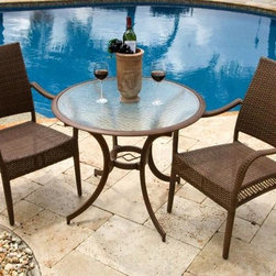 Hospitality Rattan - Grenada Patio 3 PC Dining Bistro Group in Vir - Includes: Two Arm Chairs and Round Table. Made of Extruded Aluminum Frame will not rust w All Weather Viro Fiber Wicker. Finished in a powder coated Dark Bronze finish. Includes tempered hammered glass with umbrella hole. Weather and UV resistant. Sturdy aluminum legs for extra support. Matching seating group and barstool available. Dining Armchair: 24 in. W x 29 in. L x 36 in. H (11 lbs.). Round Table: 36 in. W x 36 in. L x 22 in. H (14 lbs.)The Grenada contemporary patio set has a fully anodized aluminum frame and woven Viro fiber, which gives this collection a unique textured surface. The Grenada collection does not require cushions. The collection also features frosted tempered glass on all its tables, along with the ability to accommodate an umbrella with the patio dining set. Cushions are optional and are not included.