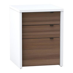 Nexera - Nexera Liber-T 3-Drawer Filing Cabinet - Liber-T 3-Drawer Filing Cabinet from Nexera features 3 catch-all drawers on metal slides at the top and 1 legal size filing drawer at the bottom. The filing drawer is mounted on heavy duty full extension ball bearing slides giving you full access to all of your files, even the ones at the far back. An anti-tilt safety device and adjustable levelers are also included for optimal use. Use the Liber-T Filing Cabinet with Liber-T Reversible Desk Panel to create a flexible work station or pair it with other Liber-T items to add storage and functionality in the living room and the office areas. Liber-T Collection is entirely modular and offers unlimited mix and match possibilities to create your own perfect entertainment or home office room settings. It is offered in a modern white melamine finish with elegant Walnut accents.