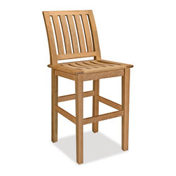 Thos. Baker - Teak Outdoor Counter Stool With No Cushion Cushion   Veranda - The veranda collection of teak dining and deep seating outdoor furniture features our premium teak in a classic mid-century design. Mortise-and-tenon construction with marine-grade stainless steel hardware to withstand the elements. Grade A, sustainably harvested plantation-grown teak.Veranda pieces exhibit timeless design, supreme comfort and great value. Quick-ship cushions available in Sunbrella canvas and blue sage.  Or choose made-to-order cushions in one of many other Sunbrella and other performance outdoor fabrics. Please remember made-to-order cushion sales are non-refundable.Signature or premium cushion sales are final and ship in 2-3 weeks.