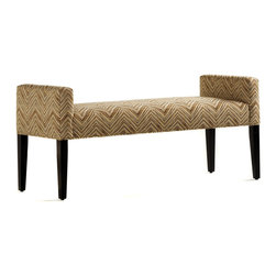 Jessica Charles - Brianna Bench - Light Cherry Finish - Canter Fog Fabric - Handmade in North Carolina using local, sustainable hardwood.  Hand applied wood finish.  Artisan upholstery.  Eight-way hand tied coils.