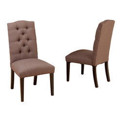 Great Deal Furniture - Prince Mocha Tufted Fabric Dining Chair (Set of 2) - The Prince Dining chair is a classic piece designed with polyester fabric upholstery, and fitted with a tufted backrest. If you want elegance , you will want this dining chair.