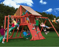 Gorilla Playsets - Gorilla Playsets Sun Climber II Wood Swing Set with Brannon Redwood Canopy Multi - Shop for Swings Slides and Gyms from Hayneedle.com! The Gorilla Playsets Sun Climber II Wood Swing Set with Brannon Redwood Canopy is the perfect place for your little monkeys to get into parent-approved mischief. This fabulous play set has loads of features - like the rope ladder rock wall and monkey bars - that will keep them busy all day swinging and climbing like the adventuresome jungle animals they love and sometimes tend to resemble. Outdoor play is so critical for children because their growing bodies need sunlight and fresh air to properly process nutrients. And don't worry: the attractive Brannon Redwood-colored Sunbrella fabric canopy will help protect them from harmful UV rays and give them a place to rest and refuel. Parents will also love the other safety features such as securely anchored easy-grip handles; safe-option ladder; rock wall safety rope; and overall stable square footing. Even the wood construction of this set has a treelike natural tactile visual and olfactory feel - unlike other sets that are constructed entirely out of plastics and metals. As your child plays with this set imagining it as a fort a jungle home or even a ship the swings and numerous climbing features provide kinetic play opportunities that allow your child to flex their muscles both physically and mentally as they find different ways to explore it.Additional FeaturesTotal dimensions: 252W x 144L x 132H inchesPlatform dimensions: 6W x 4L x 5H feetIncludes tic-tac-toe panel steering wheel telescopeAlso includes flag kit safety handles hardware4 x 4 solid wood framing4 x 6 swing beamsNaturally resistant to rot decay and insect damageAbout Gorilla Playsets Since 1992 Gorilla Playsets has been designing and selling ready-to-assemble playsets. With a reputation for providing excellent customer service Gorilla Playsets conveniently provides customers with affordable playsets inc