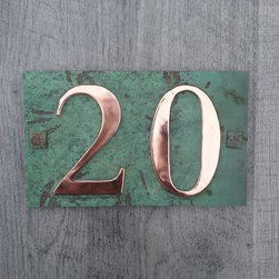 Copper address plaque - Custom order house number in ply backed copper with copper tabs hiding the screw fittings