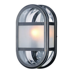 "Troy - Boulevard Collection 10 3/4"" High Outdoor Wall Light - The Boulevard Collection of outdoor lighting is modern with distinctive shape and style. The oval shape is accented by a panel of frosted glass creating warm illumination. The mirrored reflector adds extra brilliance to these graceful designs. These fixtures are crafted to last with solid brass. This outdoor wall light features an English bronze finish and clear glass with a frosted panel. Design by Troy Lighting. English bronze finish. Clear with frosted glass. Solid brass construction. Reflector backplate. Takes one 60 watt candelabra bulb (not included). 10 3/4"" high. 6 1/2"" wide. Extends 3 1/2"" from the wall. 5 1/2"" from mounting point to top of fixture.  English bronze finish.   Clear with frosted glass.   Solid brass construction.   Reflector backplate.   Takes one 60 watt candelabra bulb (not included).   10 3/4"" high.   6 1/2"" wide.   Extends 3 1/2"" from the wall.   5 1/2"" from mounting point to top of fixture."