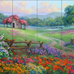 "Artwork On Tile - Senkarik Floral Landscape Ceramic Tile Mural Backsplash 24"" x 18"" - MSA129 - * 24"" w x 18"" h x .25"" Ceramic Tile Mural on Architectural Grade, 6"" Tile w/Satin Finish"