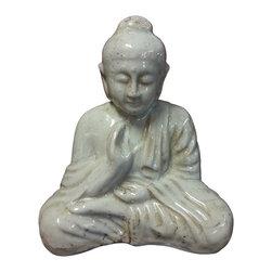 Sitting Buddha Statue - Ivory Finish - Ceramic Sitting Buddha statue in a beautiful Ivory finish.