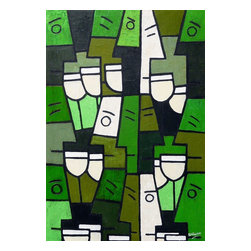 White Wine With Friends, Original, Painting - An abstract painting on the theme of partying and having fun. friends are enjoying themselves drinking white wine. painted in green and cream tones a deep textured piece in simon's unique style, a stunning work of abstract art for any home and a painting which will be the talking point among your friends.