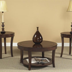 Liberty Furniture - Casual 3 Pc Occasional Table Set in Mahogany Stain Finish - Includes one cocktail table and two end tables. Bottom shelf for storage. Round ends. Accent groove line on table tops. Saber shaped leg design. Warranty: One year. Made from poplar solids and birch veneers. End table: 23.5 in. Dia. x 24 in. H. Cocktail table: 34 in. Dia. x 19 in. H (77 lbs.)