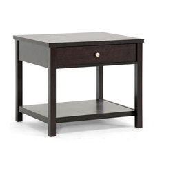 """Wholesale Interiors - Nashua Brown Modern Accent Table and Nightstand - Simple and contemporary, the Nashua Designer End Table offers stylish storage and convenience for your living space or bedroom. Dual-purpose, this modern accent table also makes for an elegant modern bedside table. Features include a drawer on metal gliders with a silver drawer pull and a bottom shelf for decorative items, essentials, and more. Brown faux wood grain paper veneer tops an engineered wood frame, all of which perch atop non-marking feet. This Malaysian-built contemporary nightstand requires assembly and should be dusted with a dry cloth. Dimensions: 25.75""""W x 22.125""""D x 22.25""""H. Shelf dimension: 24.5""""W x 19""""D x 12""""H. Drawer dimension: 19.75""""W x 15""""D x 2.8""""H."""