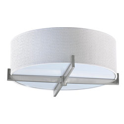 Quorum Lighting - Quorum Lighting Channing Transitional Flush Mount Ceiling Light X-56-71-2613 - Recreate a fresh and edgier look for your stylish home with Quorum Lighting Channing Transitional flush mount ceiling light illuminating any parts of the house. The white grass shade boasts a textured look with contemporary elegance. The satin nickel finish covers the cross sectional arms of the ceiling light. This silently sophisticated fixture provides a minimalistic appeal with a touch of industrial influences.