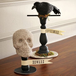 Halloween Icons On Stand - These are the perfect decorations with some spook but not so scary that they freaks out the kids. I love these idols on a stand because they would look great on the fireplace mantle or a hallway table.