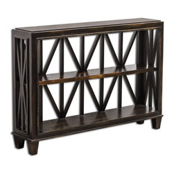 Uttermost - Uttermost 25631  Asadel Wood Console Table - Carved moldings and open fretwork made from plantation-grown mango wood in soft, worn black finish.