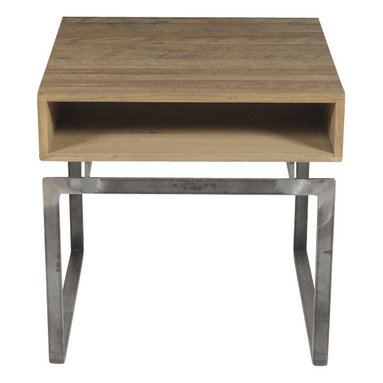 Reclamation Company - Dover Side Table Box Pattern on Top, Antique Pine, Bourbon, Metal Base, Blasted - The Dover collection features reclaimed patterned wood tops mortised into contemporary metal bases.  Shown in an asymmetrical pattern.  The clear finish brings out the full range of colors in the wood.  Because this is a unique handmade piece, please allow a 4 to 6 week lead time. Note: Please use the swatch image for an indication of the wood and finish options.