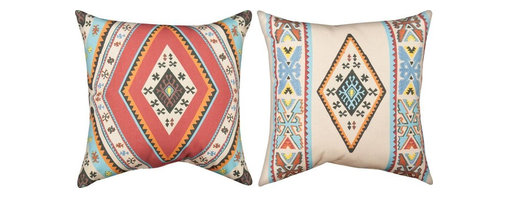 Manual - Pair of Southwestern Print Reversible Indoor / Outdoor Throw Pillows - This pair of 18 inch by 18 inch woven throw pillows adds a wonderful accent to your home or cabin. The pillows have ClimaWeave weatherproof exteriors, that resist both moisture and fading. The fronts and backs of the pillows feature different, yet matching Southwestern prints. They have 100% polyester stuffing. These pillows are crafted with pride in the Blue Ridge Mountains of North Carolina, and add a quality accent to your home.