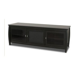 Tech Craft - Veneto 60-Inch Black Finish LCD TV Stand w 2 - Organize your media room with ease. Veneto collection 60-inch TV console has a spacious interior featuring a center concealed storage area surrounded by 2 glass pane doors. Black finished wood and veneer stand sets the stage for your unique home theater setup. 60 in. Wide Black credenza fits most 60 in. and smaller flat panels. Flat black tone will blend with almost any room setting. Conceals your components behind glass doors. Center channel compartment and storage. Wire management cutouts provided. 59.75 in. W x 20.25 in. D x 21.75 in. H