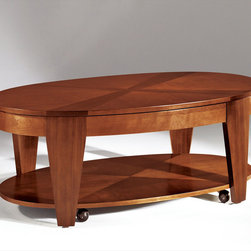 """Hammary - Oasis Oval Cocktail Table with Lift-Top in Rich Medium Brown Finish - """"A home knows that the world of furniture design is often a vast wasteland of dullness and unoriginality. Better to be safe and uninspired, some companies believe, than to be innovative and risk taking."""