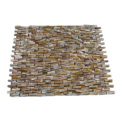 "South Seas Pearl 3D Brick Pattern Mosaic Tile - South Seas Pearl 3D Brick Pattern Glass Tile This captivating south sea pearl tile in shades of brown is artifully arranged in a 3D brick pattern. The pearl shell glass will add a durability and lasting exquisiteness to your kitchen, or fireplace installation. Thse tiles are mesh mounted and will bring a sleek and contemporary clean design to any room. Chip Size: 1/4"" x 1"" Color: Shades of Brown Material: Pearl Shell Glass Finish: Polish Sold by the Sheet - each sheet measures 11 3/4"" x 12"" (.98 sq. ft.) Thickness: 5mm Please note each lot will vary from the next. This tile is not recommended to be installed in a shower, shower floor or pools."