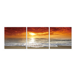 """Elementem Photography - """"Corsica Sunset"""" Print, Tri-canvas Spilt - This frameless triptych photograph of Corsica, France at sunset is printed on vinyl and mounted on a wooden MDF (Medium Density Fiberboard) frame. We laminate over each of our photos to allow them to be easily cleaned and protected. Packed with wall hangers, they are also easy to install. Each panel is 20 in. x 20 in. for a total of 3 panels 20 x 60 in."""