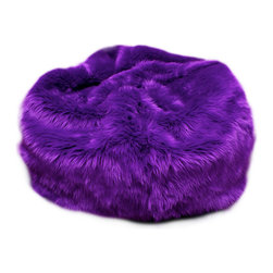 Fun Furnishings - Fun Furnishing Large Beanbag Purple Fuzzy Fur - Beanbags - What a great place to plop down and relax. Each bag come with a handy pocket to store the clicker or any other prized possession. The outer cover is removable for cleaning. The inner liner bag securely contains new fire retardant beads and is refillable too. Cleaning the Cover:  We use only fine upholstery-grade fabrics that can take lots of use from kids. Our Micro Suedes, denims and chenilles are all washable.  But we cannot prevent the covers from getting dirty. Here's what you can do to keep them looking new:  1. Blot up spills immediately. Surface wash any remaining stains with a mild, non-toxic cleaner. Do not rub too hard or use a strong cleaner; you will remove the fabric's finish and possibly some color too. 2. The furniture covers are removable. We recommend dry cleaning to keep the covers looking their best as long as possible. 3. You may apply a scotch-guard type treatment to protect the covers. If you choose to do this always start with a small amount on the bottom of the piece to make certain the fabric will not be damaged.