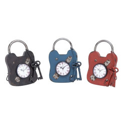 """Benzara - Metal Clock with instilled Clock in the Lock - Set of 3 - Trendy and swank, these metal clock 3 assorted are a perfect addition to your kids bedroom. Flashy in design, these clocks are designed to be decor items. You can mount it on the wall or place it on the table or mantle. This durably designed elegant clock is embedded in a rustic vintage lock. The clock has a key knotted around it. These clocks also have a pedestal to support it therefore placing it is easy. The clock displays Roman numerals and a round dial which enable easy reading. These clocks can be stowed in the bedroom or in the study room to add a personal touch to your setting. A perfect gifting option for kids, these clocks can be used to personalize your space. Moreover, they give accurate timing so that you always reach your office well in time. Made out of metal, these clocks ensure long lasting performance.; Long lasting; Intricately designed; Clock is instilled in the lock; Good gifting option; Weight: 1.1 lbs; Dimensions:7""""W x 3""""D x 10""""H; 7""""W x 3""""D x 10""""H; 7""""W x 3""""D x 10""""H"""